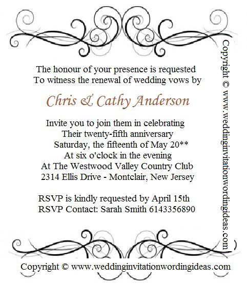 25th Wedding Anniversary Invitation