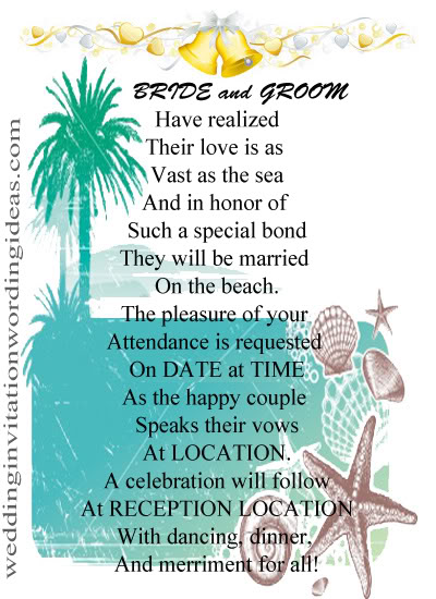 beach wedding invitation wording