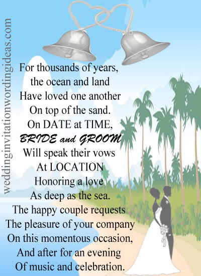 Beach Wedding Invitations Wording