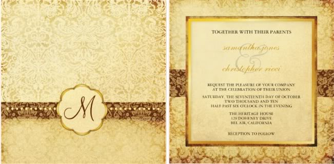 gold monogram wedding invitation, vintage monogram wedding invitation, monogram wedding invitations
