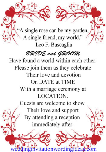 Rose Wedding Invitation Wording Examples