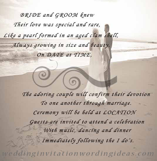 beach wedding invitation wording template