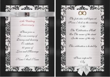 25th wedding anniversary invitation, twenty fifth wedding anniversary invitation, twenty-fifth wedding anniversary invitations