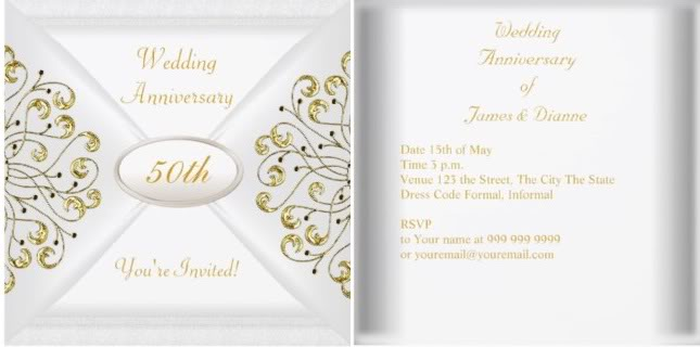 50th Wedding Invitation Templates: 50th Wedding Anniversary Invitation Wording