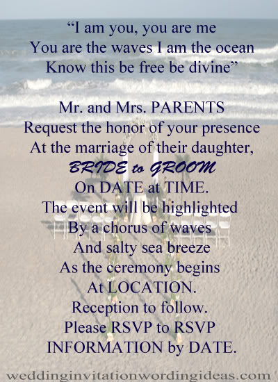 Free beach wedding invitation wordings samples beach wedding invitation wording example 3 filmwisefo