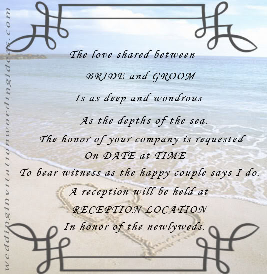 Words For Wedding Invites: Free Beach Wedding Invitation Wordings Samples