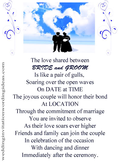 Beach Themed Wedding Invitations Free Wording Samples