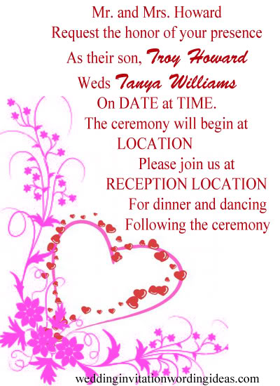 formal wedding invitation wordings