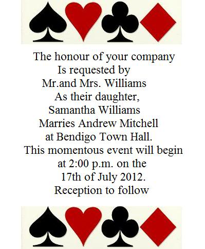 Las Vegas Wedding Invitation Wording