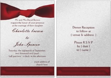 Red Wedding Invitations Front Back