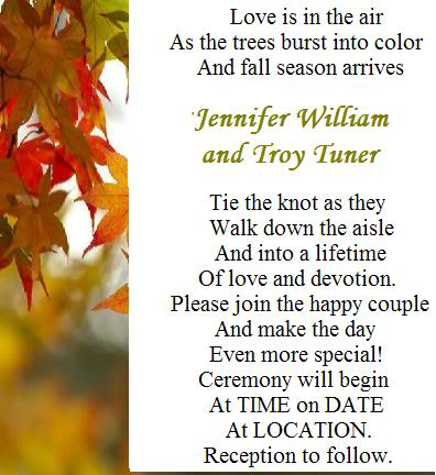 Fall Wedding Invitation Wording